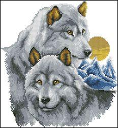 Волка размер 18х22 см канва аида 14 цвет